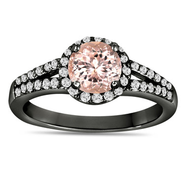 Morganite & Diamond Engagement Ring Vintage Style 14K Black Gold 1.24 Carat Pave Set HandMade Certified Halo