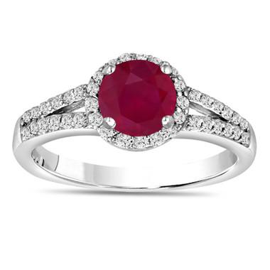 Ruby & Diamond Engagement Ring 14K White Gold 1.34 Carat Pave Set HandMade Certified Halo