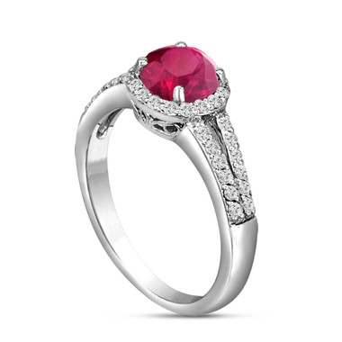 Red Ruby Engagement Ring 14K White Gold 1.00 Carat Diamond Pave Set HandMade Certified Halo