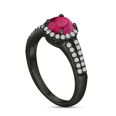Red Ruby And Diamonds Engagement Ring Vintage Style 14K Black Gold 1.00 Carat Pave Set HandMade Certified Halo