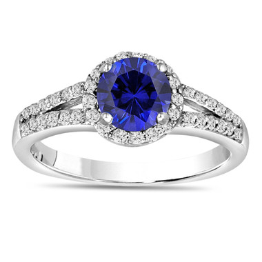 Blue Sapphire & Diamond Engagement Ring 14K White Gold 1.34 Carat Pave Set HandMade Certified Halo