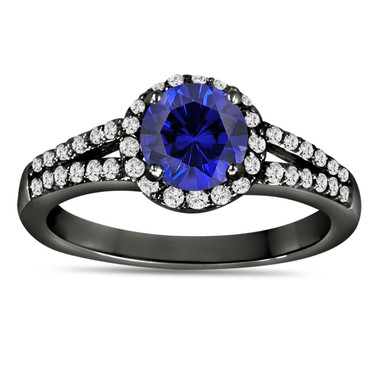 Blue Sapphire & Diamond Engagement Ring Vintage Style 14K Black Gold 1.34 Carat Pave Set HandMade Certified Halo