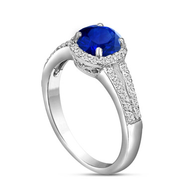 Blue Sapphire & Diamond Engagement Ring 14K White Gold 1.02 Carat Pave Set HandMade Certified Halo
