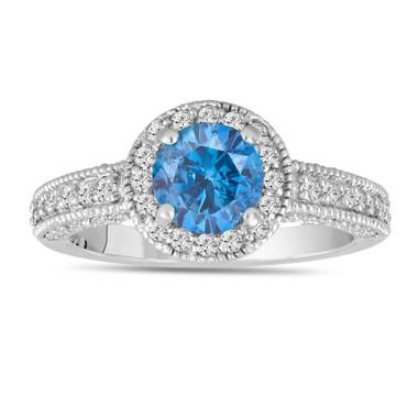 Fancy Blue Diamond Engagement Ring 1.53 Carat 14K White Gold Bridal Ring Handmade