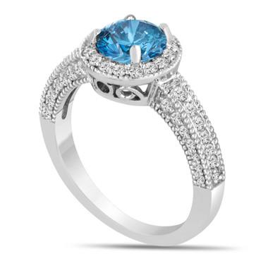 Platinum Fancy Blue Diamond Engagement Ring 1.53 Carat Bridal Ring Handmade Pave Set