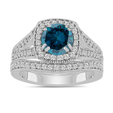 Blue Diamond Engagement Ring & Wedding Band Sets 1.78 Carat 14K White Gold Bridal Rings Handmade Halo