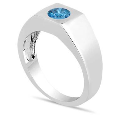 Fancy Blue Diamond Solitaire Men's Wedding Ring 14K White Gold 0.48 Carat HandMade Mans Ring