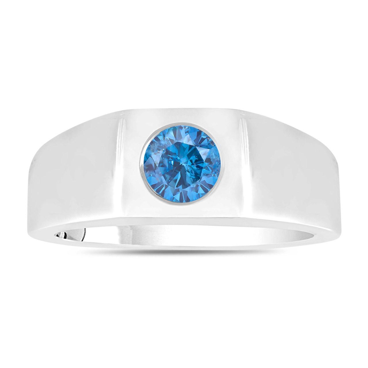 Fancy Blue Diamond Solitaire Mens Ring 14k White Gold Handmade