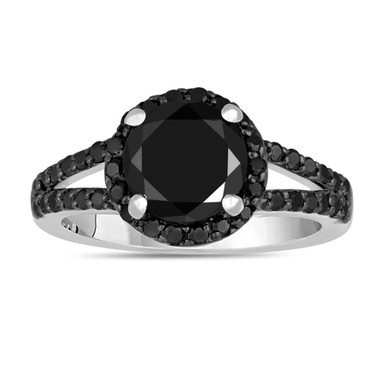 2.44 Carat Fancy Black Diamonds Engagement Ring Halo 14K White Gold Handmade Split Shank