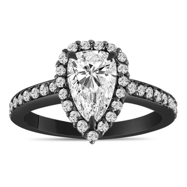 1.56 Carat Pear Shape Diamond Engagement Ring GIA Certified Vintage Style 14K Black Gold or White Gold  Handmade Certified