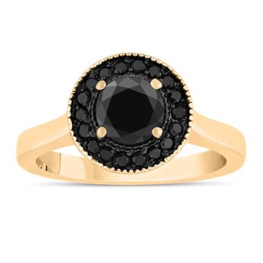 Black Diamond Engagement Ring 14K Yellow Gold 1.00 Carat Certified Pave Set Halo Bridal Ring HandMade