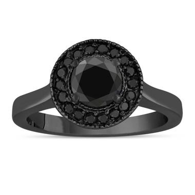 Fancy Black Diamond Engagement Ring 14K Vintage Style Black Gold 1.00 Carat Certified Pave Set Halo Bridal Ring HandMade