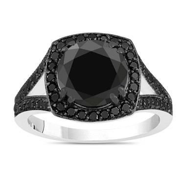 Huge Fancy Black Diamond Cocktail Ring 14K White Gold 3.50 Carat Halo Certified Handmade Pave Set