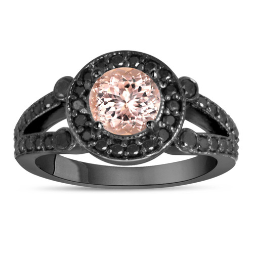 Morganite & Black Diamonds Engagement Ring 1.40 Carat Vintage Style 14K Black Gold Halo Handmade