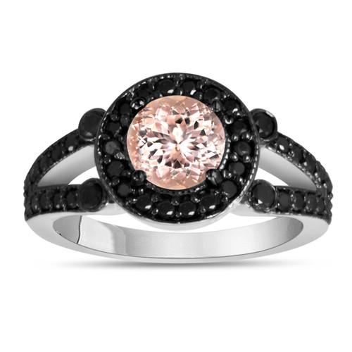 Morganite & Black Diamonds Engagement Ring 1.40 Carat 14K White Gold Halo Handmade Bridal