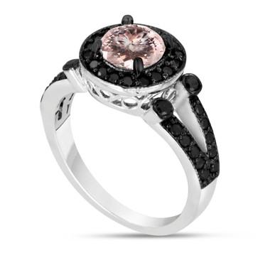 Platinum Morganite & Black Diamonds Engagement Ring 1.40 Carat Halo Handmade Bridal