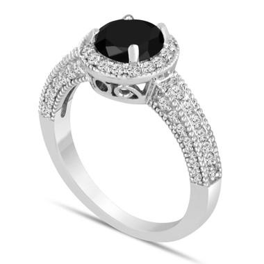 Platinum Fancy Black Diamond Engagement Ring 1.58 Carat Bridal Halo Ring Pave Handmade