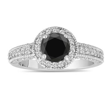 Fancy Black Diamond Engagement Ring 1.56 Carat 14K White Gold Bridal Halo Ring Pave Handmade