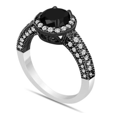 Fancy Black Diamond Engagement Ring 1.56 Carat Vintage Style 14K Black And White Gold Bridal Ring Handmade