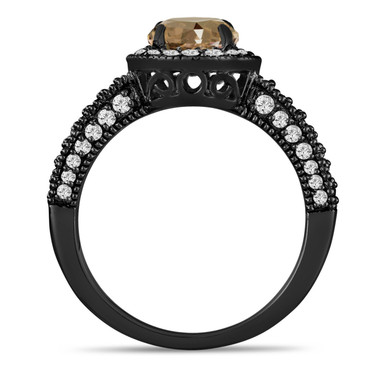 Champagne Brown Diamond Engagement Ring 1.53 Carat Vintage Style 14K Black Gold Bridal Ring Handmade