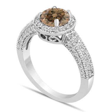 Champagne Brown Diamond Engagement Ring 1.53 Carat 14K White Gold Bridal Ring Handmade