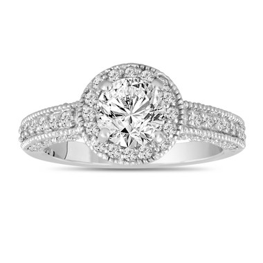 Platinum Diamond Engagement Ring 1.53 Carat Bridal Halo Ring Handmade