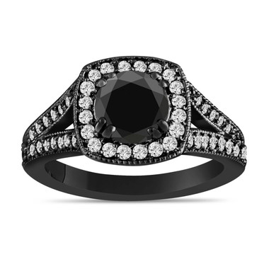 Black Diamond Engagement Ring 14K Black Gold Vintage Style 1.60 Carat Bridal Ring Handmade Halo