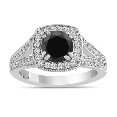 Platinum Black Diamond Engagement Ring 1.60 Carat Bridal Ring Handmade Halo