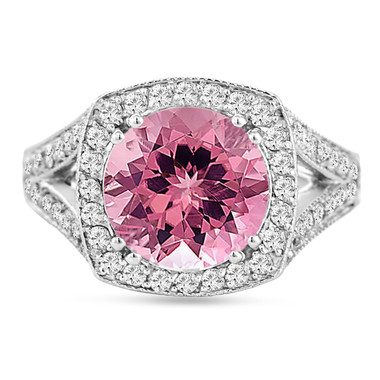Pink Tourmaline And Diamonds Cocktail Ring 14K White Gold 3.25 Carat Pave Set HandMade Certified
