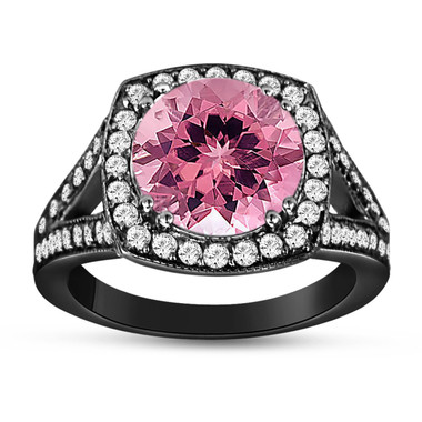 Pink Tourmaline And Diamonds Engagement Ring 14K Black Gold Vintage Style 3.25 Carat Pave Set HandMade Certified