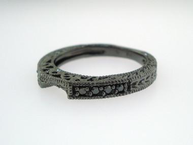 Wedding Or Anniversary Black Diamond Curve Band Vintage Style 14K Black Gold 0.12 Carat