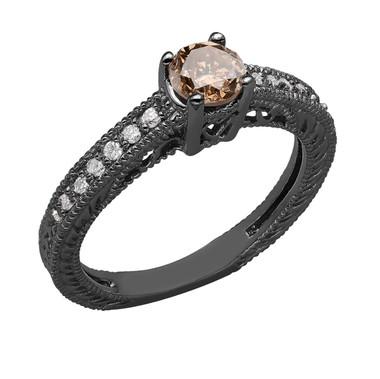 Champagne Brown Diamond Engagement Ring Vintage Style 14K Black Gold 0.92 Carat Certified Pave Set HandMade