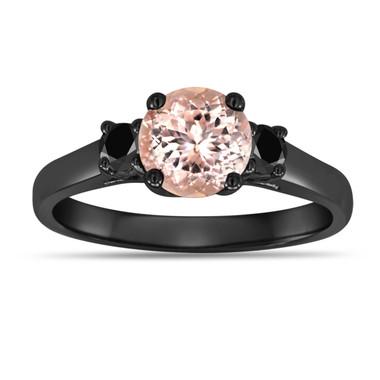 Morganite Three Stone Engagement Ring Vintage Style 14K Black Gold 1.05 Carat Birthstone