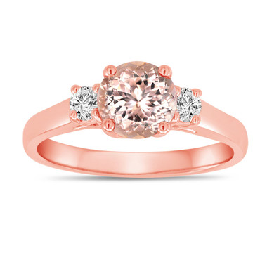 Morganite And Diamonds Three Stone Engagement Ring 14K Rose Gold 1.00 Carat Birthstone