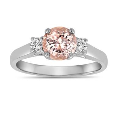 Morganite And Diamonds Three Stone Engagement Ring 14K White Gold 1.00 Carat Birthstone