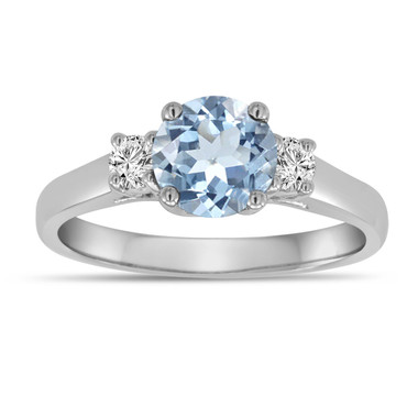 Aquamarine And Diamonds Three Stone Engagement Ring 14K White Gold 1.08 Carat Birthstone