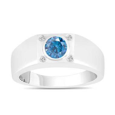 Blue And White Diamonds Solitaire Mens Ring 14K White Gold 0.55 Carat Handmade