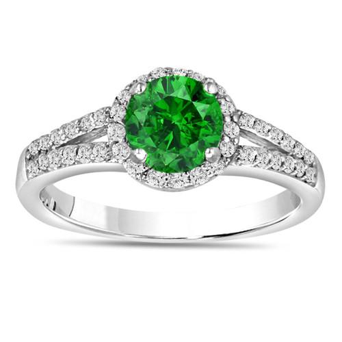 Fancy Green Diamond Engagement Ring VS2 1.07 Carat 14K White Gold Halo Certified Handmade