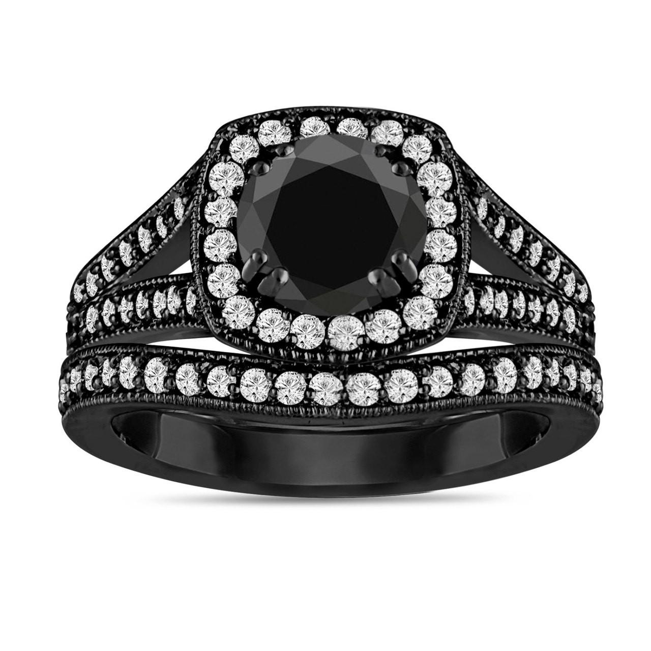 Black Diamond Engagement Ring Set Vintage Wedding Rings Sets 14k