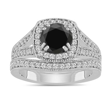 Platinum Black Diamond Engagement Ring And Wedding Band Sets 1.82 Carat Bridal Ring Sets
