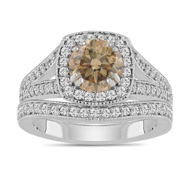 Champagne Brown Diamond Engagement Ring And Wedding Band Sets 1.80 Carat 14K White Gold Bridal Ring Sets