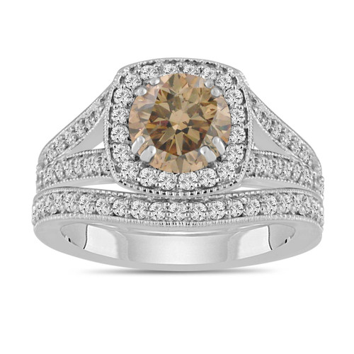 Platinum Champagne Brown Diamond Engagement Ring And Wedding Band Sets 1.80 Carat Bridal Ring Sets