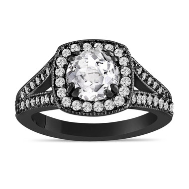 White Topaz And Diamonds Engagement Ring Vintage Style 14K Black Gold 1.56 Carat Pave Set HandMade Certified Halo