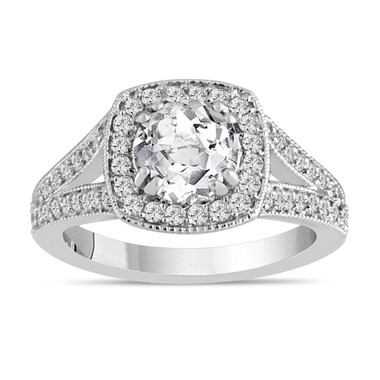 White Topaz And Diamonds Engagement Ring 14K White Gold 1.56 Carat Pave Set HandMade Certified Halo
