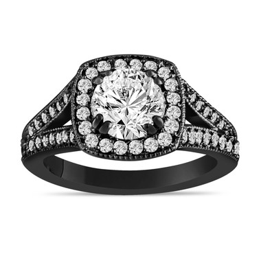 Black Platinum Diamond Engagement Ring 1.57 Carat Halo handmade