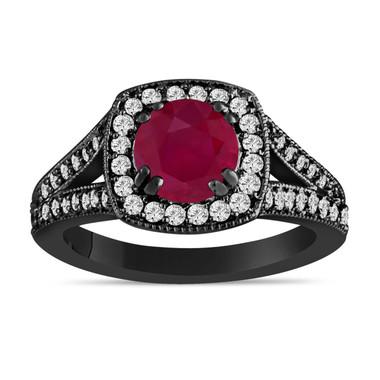Ruby Engagement Ring Ruby And Diamond Engagement Ring 1.58 Carat 14K Black Gold Bridal Ring Handmade Halo