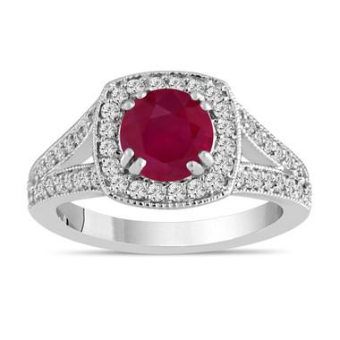 Ruby Engagement Ring Ruby And Diamond Engagement Ring 1.58 Carat 14K White Gold Bridal Ring Handmade Halo