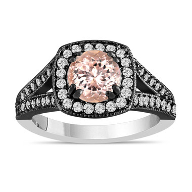 Morganite And Diamonds Engagement Ring 14K White And Black Gold 1.46 Carat HandMade Certified Halo