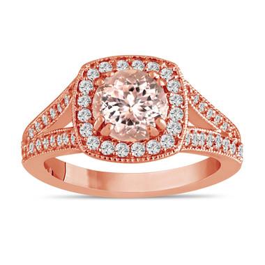 Morganite & Diamonds Engagement Ring 14K Rose Gold 1.46 Carat Pave Set HandMade Certified Halo