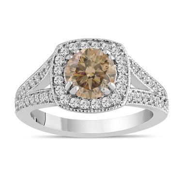 Champagne Brown Diamond Engagement Ring 1.58 Carat 14K White Gold Bridal Ring Handmade Halo